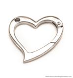Heart-shaped snap hook nickel 53X53 mm.