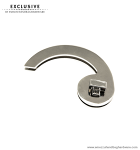Handbag turn lock nickel 80 mm.