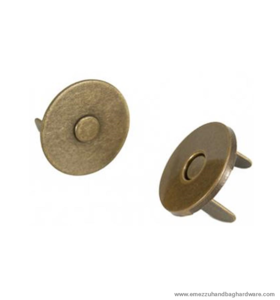 Magnetic snap closure thin Antique brass Ø14x2 mm.